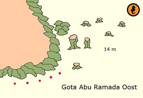 Duiken in Hurghada, Duikkaarten Hurghada, Duikkaart Hurghada, Duikplekken Hurghada, Duikplaatsen in hurghada, Duiklocaties in hurghada, Gota Abu Ramada Oost, Hurghada