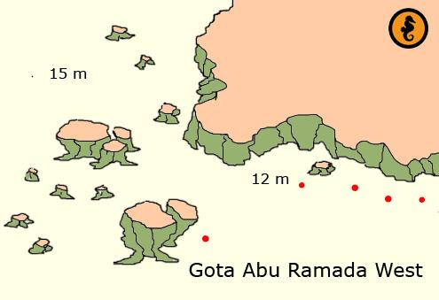 Duiken in Hurghada, Duikkaarten Hurghada, Duikkaart Hurghada, Duikplekken Hurghada, Duikplaatsen in hurghada, Duiklocaties in hurghada, Gota Abu Ramada West, Hurghada