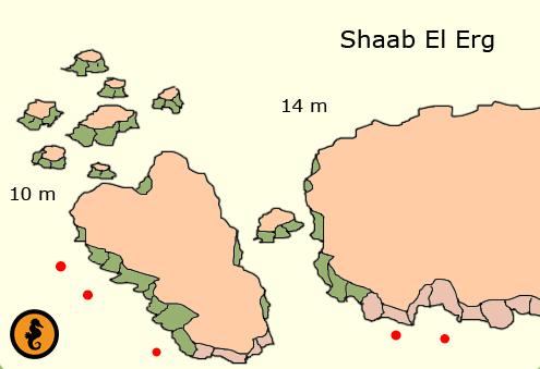Duiken in Hurghada, Duikkaarten Hurghada, Duikkaart Hurghada, Duikplekken Hurghada, Duikplaatsen in hurghada, Duiklocaties in hurghada, Shaab El Erg