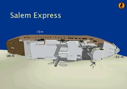 Wrak Salem Express, Rode Zee, Egypte. Wrakken, Rode Zee,Egypte, Wrakduiken Rode Zee, Egypte, Wrak Salem Express Egypte